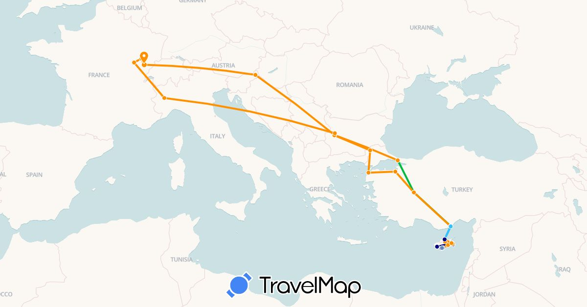 TravelMap itinerary: driving, bus, cycling, boat, hitchhiking in Bulgaria, Cyprus, France, Greece, Italy, Slovenia, Turkey (Asia, Europe)